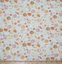 Sea Shells Star fish Sand Dollars Timeless Treasures 100%25 Cotton Fabric by Yards