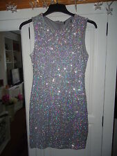 TopShop Sparkly 3D Sequin Stretch Bodycon Mini Dress Petite Beautiful Size 12