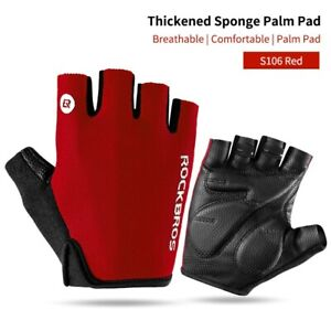 ROCKBROS Bike Half Finger RED Cycling Hiking Gym MTB Gloves Breathable padded