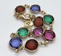 "Swarovski Vintage Bracelet Signed Rhinestone Crystal Gold Tone Swan 7.5"""