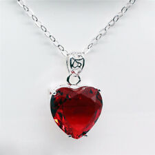 Woman Romantic Valentine's Gift Fire Red Garnet Gemstone Silver Necklace Pendant