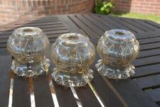 3 x  Vintage Retro Heavy Glass Lamp Shades Frilled Edging
