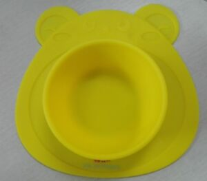 NEW Non Slip Suction Yellow Bear Bowl Silicone Placemat for Children Infants USA