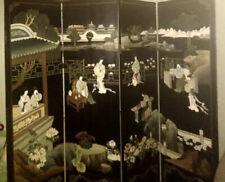 1950-60s 4-panel Oriental Screen / Room Divider Black