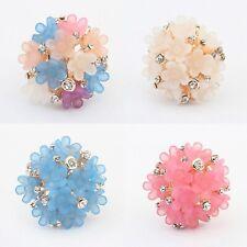 New fashion Cluste  ring Festival Hobo Flower Gems Gold adjustable flower ring