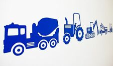 Digger Tractor Construction Vehicle Wall Art Decals/Stickers - Various Colours