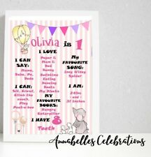 Elephant First Birthday Personalised Milestone Print Party Decorations 1st Girls