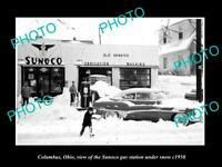 OLD 8x6 HISTORIC PHOTO OF COLUMBUS OHIO THE SUNOCO OIL Co GAS STATION c1950