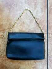 Zara Soft Black Clutch with Gold Chain