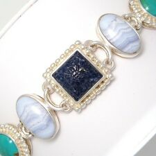 Sterling Silver Multi Stone Carved Lapis Turquoise Chalcedony MOP Bracelet LDA4