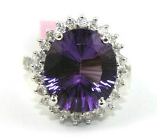 Natural Oval Purple Amethyst & Diamond Solitaire Ring 14k White Gold 9.08Ct