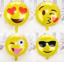 "4 x Emoji Face 18"" Foil Balloon Birthday Party Decoration Cartoon Heart Glasses"