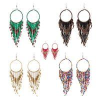 Earrings Fashion Retro Bohemian Ethnic Wind Long Style Rice Beads Fringed Boho