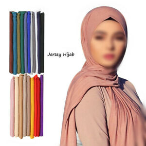 Women's Muslim Stretch Jersey Scarf Shawls Hijab Ladies Scarves Turban 30 Colors