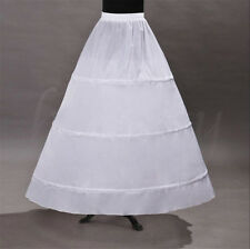 3 Hoop White Prom Wedding Bridal Crinoline Petticoat Dress Slip Skirt Underskirt