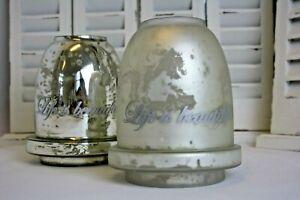 Windlicht Teelicht 17cm Glas Antique Silber Weiß Deko Geschenk Tisch Deko Garten