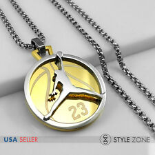 Stainless Steel Jordan # 23 & JUMPMAN Logo Pendant w Round Box Necklace Gold 13F
