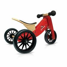 Kinderfeets Tiny Tot Trike 2 in 1 Wooden Convertible to Balance Bike - Red