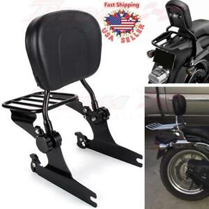 Detachable Sissy Bar Passenger Backrest & Rack For Harley Davidson Softail 00-06