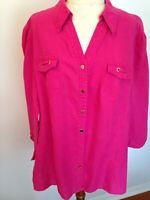 JM COLLECTION Woman Pink 100% Linen 3/4 Sleeve Button Top Shirt Size 18