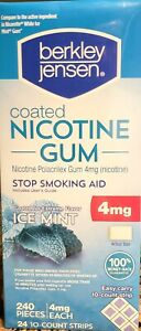 FACTORY SEALED Berkley Jensen 4mg Ice Mint Coated Nicotine Gum 240 ct. Exp 11/22