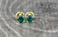 1.0 ct Round Cut Emerald Screw Back Earring Studs 14K Yellow Gold