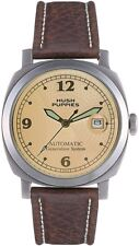 HUSH PUPPIES AUTOMATIC IVORY DIAL BROWN LEATHER MEN'S WATCH HP.8556M.2519 NEW