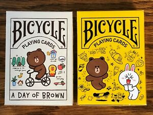 2 DECKS Bicycle Line Friends Doodle & A Day of Brown playing cards USA SELLER!