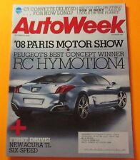 AUTO WEEK MAGAZINE OCT.20, 2008....FIRST DRIVE: NEW ACURA TL SIX-SPEED