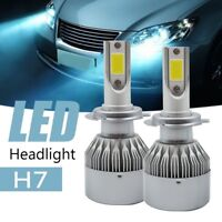 Pair H7 Car COB LED Headlight 7200LM 6000K Cool Whihe Light Replacement Xenon