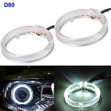 2x 80mm 12V 12W Xenon White Universal Fit LED Angel Eye Halo Ring DC DRL FogLamp