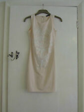 Light Peach Pink Stretch Bodycon Gold Floral Primark Dress in Size 10 - NWOT