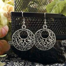 Vintage hollow round Tibetan Silver dangle Earrings Women party Gift 3CM long