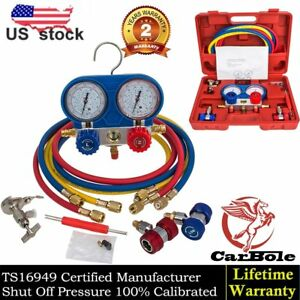 R134A A/C Manifold Gauge Set Refrigeration Brass Manometer Gauge System Test Kit