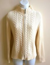 LAND'S END LADIES ZIP UP CABLE SWEATER IVORY COLORED SZ XS 2-4 PETITE EUC