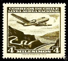 CHILE, AIR PLANE OVER RIVER, AIR MAIL, MNH, YEAR 1960-1962, CASA DE MONEDA