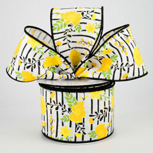"""Yellow Florals on Black Lined Wire Ribbon 2.5"""" (2 LENGTHS)*Easter*Spring*Summer*"""