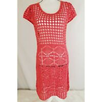 Forever 21 Womens Open Loose Knit Sweater Dress Size Small Coral Short Sleeve