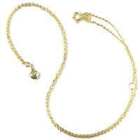 9ct Gold Heart Necklace Small Ladies Pendant with Flat Belcher Chain
