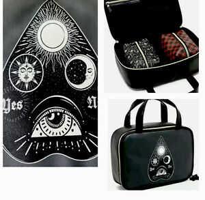Ouija Planchette Faux Leather LARGE 3Pc Handbag Makeup Case Witch Goth Halloween