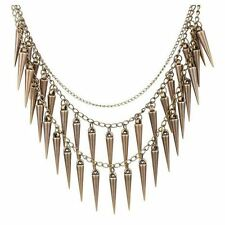 Large Multilayer Spike Bib Statement Necklace Double Row - Punk Goth Gothic