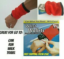 RED WRIST BAND HOLDER FOR MONEY OR CARD WITH ZIPPER  FOR RUNNING  GYM FROM USA!