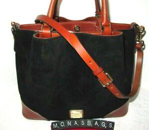 Dooney & Bourke Black Suede Brenna Saddle Trim Extra Strap Handbag NWT $328