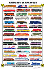 "Railroads of Arkansas 11""x17"" Railroad Poster by Andy Fletcher signed"