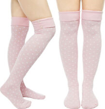 "78543 Pink & White Polka Dot Button 20"" Long Thigh High Socks Sourpuss Derby NEW"