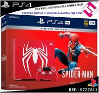 PS4 PLAYSTATION 4 PRO 1TB ROJA MARVEL´S SPIDERMAN JUEGO MANDO EDICION CUH-7116B
