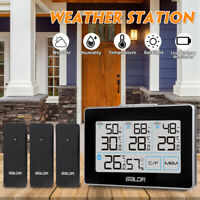 Wireless Weather Station Indoor Outdoor Alarm Thermometer w/3 Transmitter Sensor