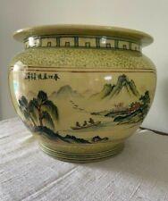 New listing Vintage Chinese Enameled Porcelain Fish Bowl Jardiniere Planter Yellow