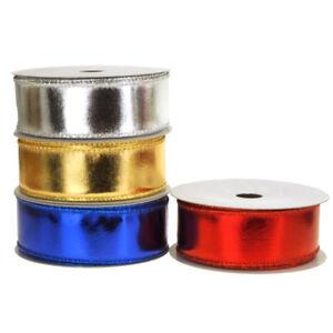 Metallic Lame Christmas Ribbon Wired Edge, 1-1/2-Inch, 10 Yards