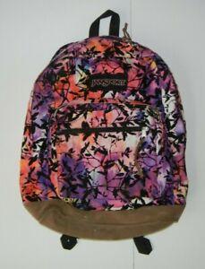 JANSPORT Bright Colorful Pink/Purple SCHOOL BACKPACK Leather Bottom Hiking Bag